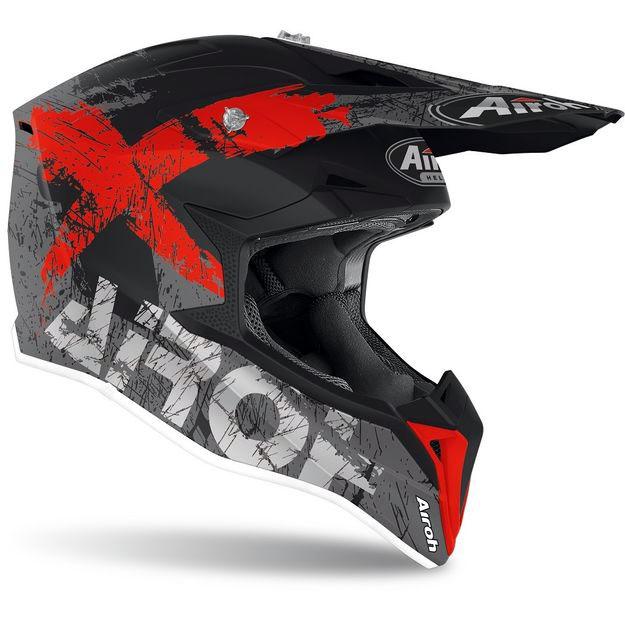 Кроссовый шлем Airoh Wraap Broken красно-матовый