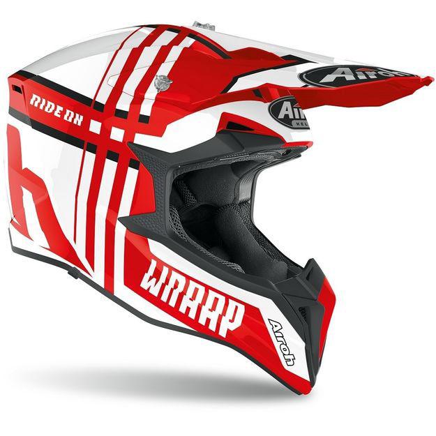 Кроссовый шлем Airoh Wraap Broken красный