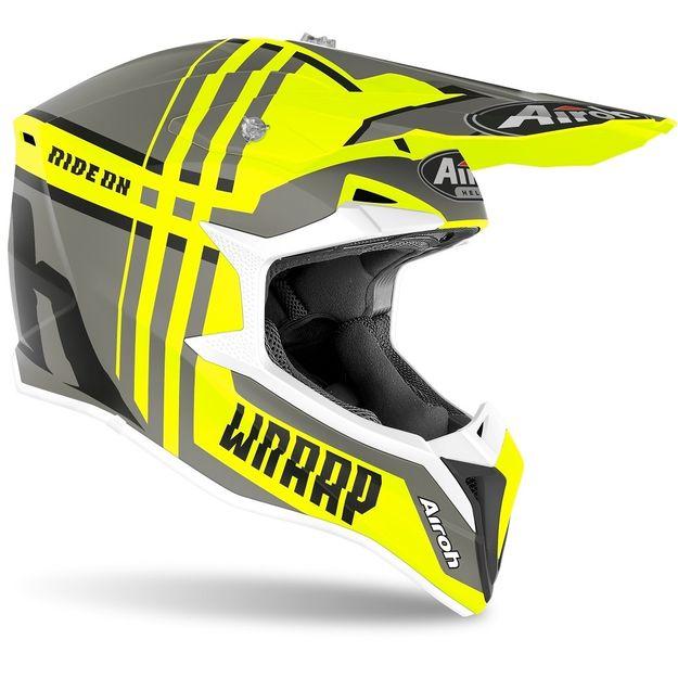 Купить Шлем для эндуро и кросса Airoh Wraap Broken Yellow Matt