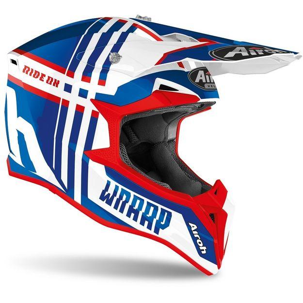 Купить Шлем для эндуро и кросса Airoh Wraap Broken Blue-Red Gloss